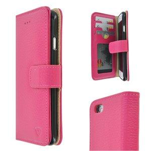 Pearlycase Echt leder Wallet Bookcase Hoesje Geribbeld Roze voor Apple iPhone 6 / iPhone 6S
