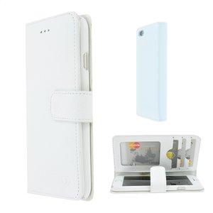 Pearlycase Echt leder Wallet Bookcase Hoesje Geribbeld Wit voor Apple iPhone 6 / iPhone 6S