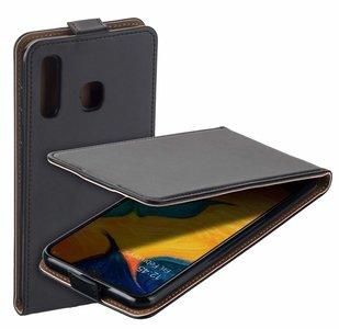 Pearlycase Lederlook Flip Case hoesje Zwart voor Samsung Galang Galaxy A20
