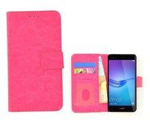 Fashion Roze Wallet Bookcase Hoesje Huawei Y6 Pro 2017