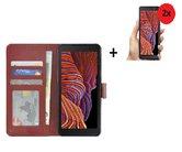 Samsung Galaxy Xcover 5 Hoesje Bookcase Bruin + 2x Screenrprotector
