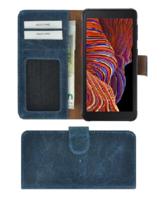 Samsung Galaxy xcover 5 Hoesje Echt Leer Denim Blauw