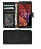 Samsung Galaxy Xcover 5 Hoesje Echt Leer Croco Zwart