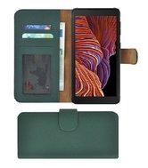 Samsung Galaxy Xcover 5 Hoesje Echt Leer Groen