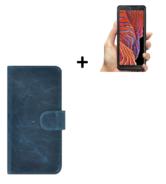 Samsung Galaxy Xcover 5 Hoesje Echt Leer Denim Blauw + Screenprotector