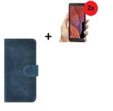 Samsung Galaxy Xcover 5 Hoesje Echt Leer Denim Blauw + 2x Screenprotector