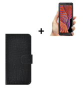 Samsung Galaxy Xcover 5 Hoesje Echt Leer Croco Zwart Hoesje + Screenprotector