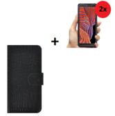 Samsung Galaxy Xcover 5 Echt Leer Hoesje Croco Zwart + 2x Screenprotector