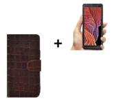 Samsung Galaxy Xcover 5 Hoesje Echt Leer Croco Bruin + Screenprotector