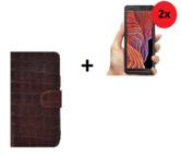 Samsung Galaxy Xcover 5 Hoesje Echt Leer Croco Bruin + 2x Screenprotector