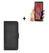 Samsung Galaxy Xcover 5 Hoesje Echt Leer Zwart + Screenprotector