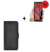 Samsung-Galaxy-Xcover-5-hoesje-Samsung-Galaxy-Xcover-5-Screenprotector-Samsung-Xcover-5-Wallet-Book-Case-Echt-Leer-Zwart-+-2x-Screenprotector