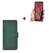 Samsung Galaxy Xcover 5 Hoesje Echt Leer Groen + Screenprotector