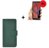 Samsung Galaxy Xcover 5 Hoesje Echt Leer Groen + 2x Screenprotector
