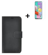 Oppo A73 5G Hoesje Echt Leder Zwart + Screenprotector