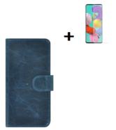 Oppo-A73-5G-Hoesje-Oppo-A73-5G-Screenprotector-Oppo-A73-5G-Wallet-Book-Case-Echt-Leer-Denim-Blauw-+-Screenprotector